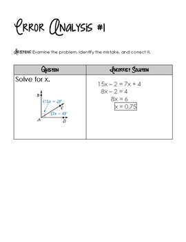 Special Angle Pairs - Error Analysis