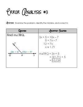 Special Angle Pairs - Error Analysis