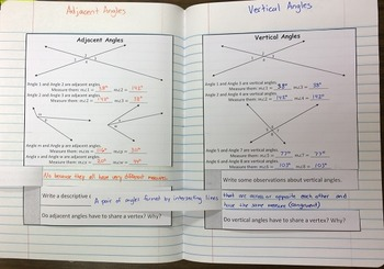 Special Angle Pairs Exploration Foldable Notes SOL(2016) 8.5