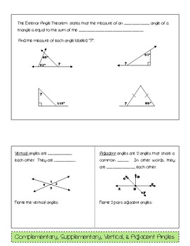 Special Angle Pairs Foldable (Interactive Notebook)