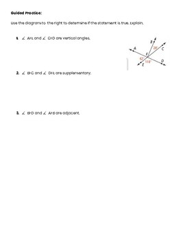 Special Angle Pairs Guided Notes