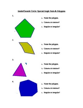 Special Angle Pairs & Polygons Stations