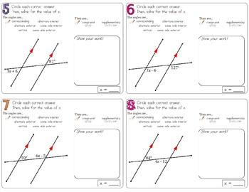Special Angle Pairs Practice/Review