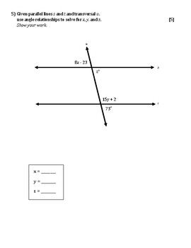 Special Angle Pairs Quiz (3 versions)