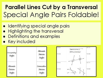 Special Angle Pairs formed by Transversals Foldable