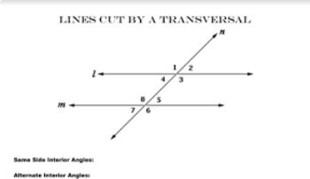 Special Angles Formed by Lines Cut by a Transversal