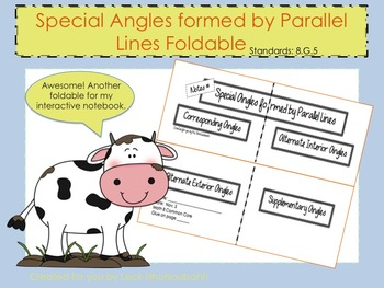 Special Angles within Parallel Lines Foldable