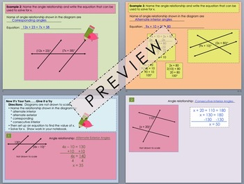 Special Angles within Parallel Lines Foldable PowerPoint