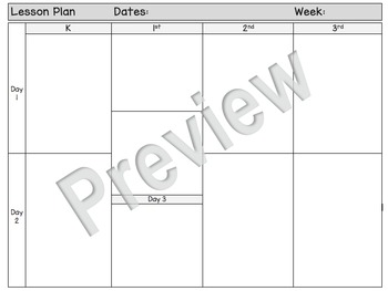 Special Area Weekly Lesson Plan Snapshot