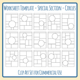 Special Attention Section Circles Worksheet Template Blank Layout Clip Art Set