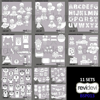 Special Bundle Clipart Collection 13 - Black and White outline graphics