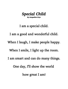 Special Child - A Poem that Boosts Self-esteem