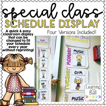 Special Class Schedule Display - Watercolor, Black & White, Printer Friendly!
