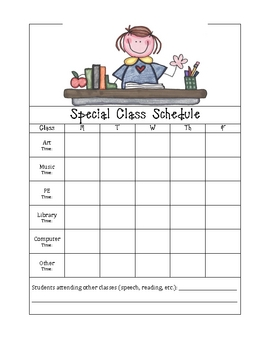 Special Class Schedule for Substitute Folder