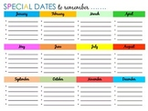 Year at a Glance Special Dates Calendar