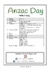 Special Days/Holiday Themed Activity Book - Anzac Day (Middle Primary)