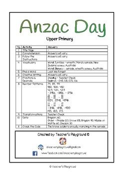 Special Days/Holiday Themed Activity Book - Anzac Day (Upper Primary)
