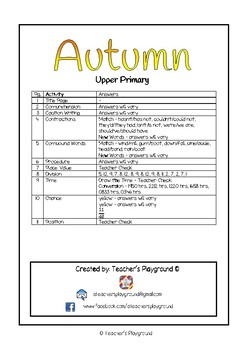 Special Days/Holiday Themed Activity Book - Autumn (Upper Primary)
