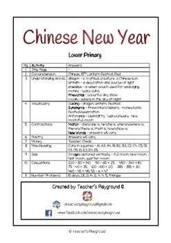 Special Days/Holiday Themed Activity Book - Chinese New Year (Lower Primary)