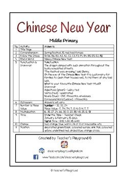 Special Days/Holiday Themed Activity Book -  Chinese New Year (Middle Primary)