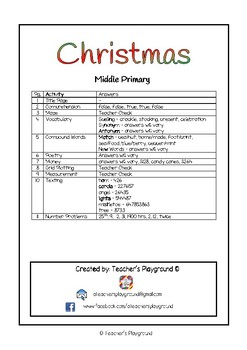 Special Days/Holiday Themed Activity Book - Christmas (Middle Primary)