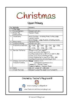 Special Days/Holiday Themed Activity Book - Christmas (Upper Primary)