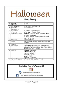 Special Days/Holiday Themed Activity Book - Halloween (Upper Primary)