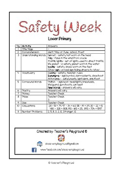 Special Days/Holiday Themed Activity Book - Safety Week (Lower Primary)