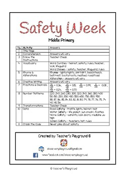 Special Days/Holiday Themed Activity Book - Safety Week (Middle Primary)