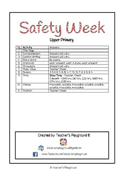 Special Days/Holiday Themed Activity Book - Safety Week (Upper Primary)