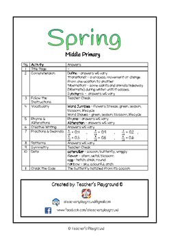Special Days/Holiday Themed Activity Book - Spring (Middle Primary)