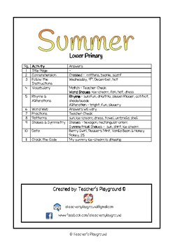 Special Days/Holiday Themed Activity Book - Summer (Lower Primary)