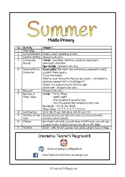 Special Days/Holiday Themed Activity Book - Summer (Middle Primary)