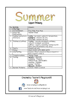 Special Days/Holiday Themed Activity Book - Summer (Upper Primary)