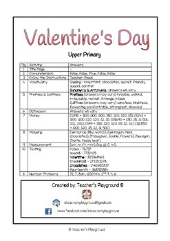 Special Days/Holiday Themed Activity Book - Valentine's Day (Upper Primary)