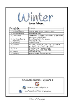 Special Days/Holiday Themed Activity Book - Winter (Lower Primary)