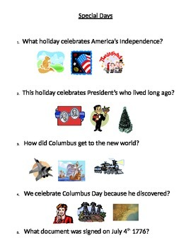 Special Days (U.S. Holidays questions and picture answers)