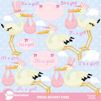 Baby Clipart, New Baby Girl Clipart, Stork Clipart, AMB-832