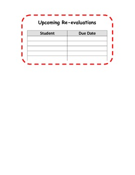 Special Ed Caseload Calendar
