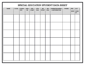 Special Ed Data Sheet
