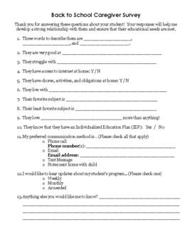 Special Ed Parent Survey