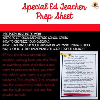 Special Ed Prep Sheet