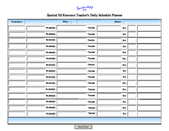 Special Ed Resource Teacher's Daily Scheduler Form for iPa