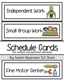 (Special Ed.) Schedule Cards for Centers & Class Activities- White Background