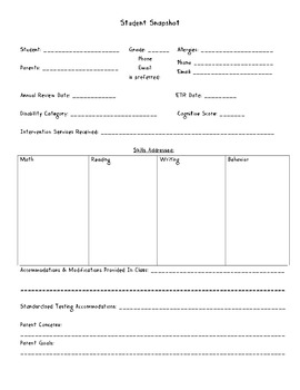 Special Ed Teacher Binder Forms