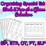 Special Ed Weekly and Yearly Calendar Organizers