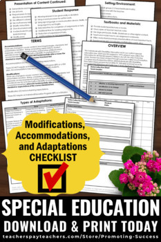 Accommodations and Modifications Autism Resources & Special Education Checklists