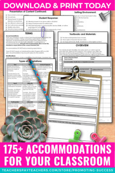 Special Education Modifications and Accommodations Checklist, IEP Goals