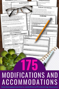 Special Education Modifications and Accommodations Checklist, IEP Goals 504