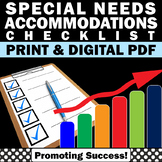 Special Education and Autism Resources, IEP Accommodations Checklist